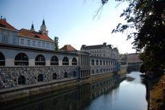 Ljubljana embankment Stock Images