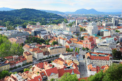 Ljubljana en la puesta del sol Fotos de archivo libres de regalías