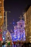 LJUBLJANA, ESLOVENIA - 21 DE DICIEMBRE DE 2017: Noche de Advent December Imagen de archivo libre de regalías