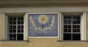 Ljubljana. Facade with sundial Stock Photo