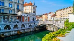 Ljubljana flodstrand 6 fotografering för bildbyråer