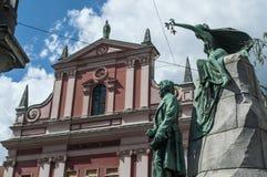 Ljubljana Frankrike PreÅ ¡ eren, statyn, monumentet, horisont, PreÅ ¡ eren fyrkanten, Slovenien, Europa, panoramautsikten, konst, fotografering för bildbyråer