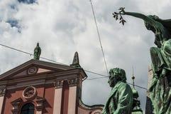Ljubljana Frankrike PreÅ ¡ eren, statyn, monumentet, horisont, PreÅ ¡ eren fyrkanten, Slovenien, Europa, panoramautsikten, konst, royaltyfri fotografi