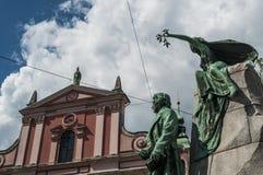 Ljubljana Frankrike PreÅ ¡ eren, statyn, monumentet, horisont, PreÅ ¡ eren fyrkanten, Slovenien, Europa, panoramautsikten, konst, arkivfoton