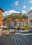 Ljubljana gata, Slovenien Arkivbilder