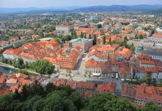 Ljubljana historic center view from castle, Slovenia Royalty Free Stock Image