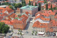 Ljubljana historyczny centrum - Novi trg teren, Slovenia Zdjęcia Royalty Free
