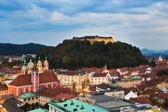 Ljubljana, hoofdstad van Slovenië Stock Foto