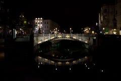 Ljubljana huvudsaklig bro Royaltyfria Bilder