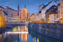 Ljubljana. Image of Ljubljana, Slovenia during twilight blue hour Stock Image