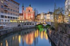 Ljubljana. Image of Ljubljana, Slovenia during twilight blue hour royalty free stock photos