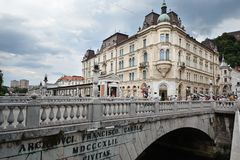 Ljubljana and its river Royalty Free Stock Photo