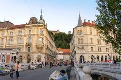 Ljubljana Kresija byggnad och Philip Mansion Arkivfoton