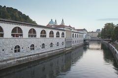 Ljubljana Market. View of the Ljubljana market on the Ljubljanica River stock photo