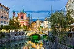 Ljubljana medieval romántica, Eslovenia, Europa Imagen de archivo libre de regalías