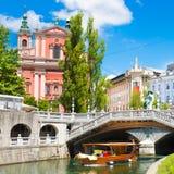 Ljubljana medieval romântico, Eslovênia, Europa Imagens de Stock Royalty Free