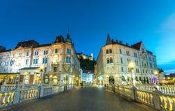 Ljubljana na noite Imagem de Stock Royalty Free