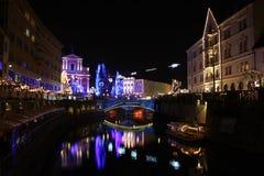 Ljubljana nachts Lizenzfreie Stockbilder