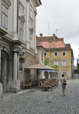 Ljubljana narrow street in Slovenia Royalty Free Stock Photography