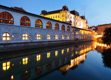 Ljubljana at night Royalty Free Stock Photos