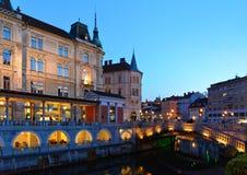 Ljubljana at night. With the Triple Bridge, Slovenia stock photo