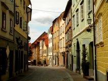 Ljubljana Old Town. A beautiful street in Ljubljana old town Stock Photos