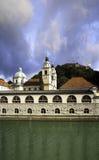 Ljubljana Plecnik Market and Cathedral. Ljubljanica River, Plecnik Market, Cathedral and Ljubljana Castle Royalty Free Stock Images