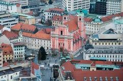 Ljubljana Prešeren Square. View from the castle Royalty Free Stock Photos