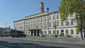 Ljubljana railway station. Palace of the Ljubljana railway station stock video footage