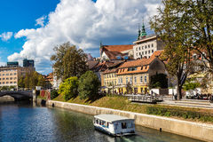 Ljubljana river. In downtown in a summer day in Ljubljana, Slovenia Royalty Free Stock Image