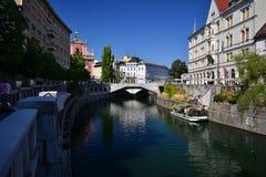 Ljubljana. River view in Ljubljana, Slovenia Royalty Free Stock Photography