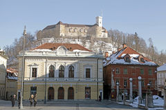 Ljubljana's castle and midieval city center, Ljubljana, Slovenia. LJUBLJANA, SLOVENIA - FEBRUARY 10, 2015: Beautiful city view with Ljubljana's castle and Royalty Free Stock Images