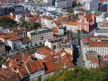 Ljubljana's center. View of Ljubljana's center from the Castle Royalty Free Stock Photo