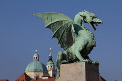Ljubljana's dragon. Statue of Ljubljana dragon in city center near central market Stock Photo