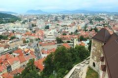 Ljubljana scenery. Seen from the Ljubljana castle, Slovenia stock photography
