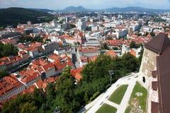 Ljubljana-Schlossansicht lizenzfreies stockbild