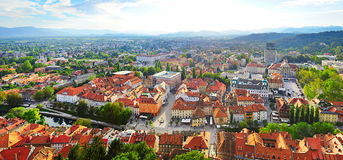 Ljubljana skyline. Panoramic aerial view of Ljubljana city . Slovenia royalty free stock image