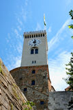 Ljubljana slotttorn - akademikra Ljubljanski, Slovenien, Europa Arkivbilder
