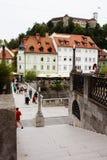Ljubljana Slovénie - 15 août 2017 2015 - château du ` s de Ljubljana et vieille vue de ville Photos stock