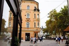 Ljubljana, Slovénie - 15 août 2017 Marchant la vieille ville Photo libre de droits