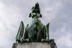 Ljubljana, Slovénie, l'Europe, statue de dragon, Dragon Bridge, Zmajski plus, animaux légendaires Photographie stock libre de droits