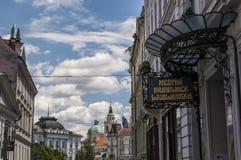 Ljubljana, Slovénie, l'Europe, ville de dragon, horizon, auvent, architecture, Art Nouveau, Mestna Hranilnica Ljubljanska, banque Photographie stock