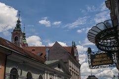Ljubljana, Slovénie, l'Europe, ville de dragon, horizon, auvent, architecture, Art Nouveau, Mestna Hranilnica Ljubljanska, banque Images stock
