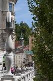 Ljubljana, Slovénie, l'Europe, ville de dragon, Tromostovje, le pont triple, horizon, rue, architecture, Art Nouveau Images libres de droits
