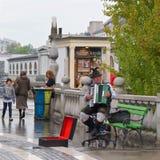 Ljubljana, Slovenië - Oktober 2017: Straatmusicus het spelen harmonika op het vierkant in de Oude Stad van Ljubljana, Slovenië Stock Foto's