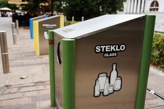 Ljubljana, Slovenia - AUGUST 15, 2017. Trash sorting in city center. Ecology and nature care. Concept stock photo
