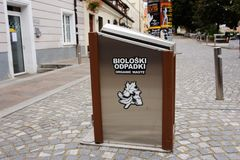 Ljubljana, Slovenia - AUGUST 15, 2017. Trash sorting in city center. Ecology and nature care concept stock photos