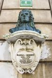 Bust memorial of the 17th-century physician Marko Gerbec stock image