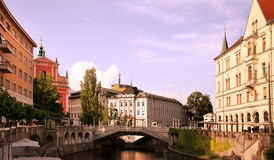 LJUBLJANA, SLOVENIA - CIRCA JULY 2014, Church and river Ljubljan Royalty Free Stock Photo