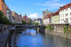 LJUBLJANA, SLOVENIA - CIRCA JULY 2014: Old town embankment in Lj Royalty Free Stock Photography